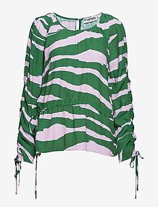 Iris - long sleeved blouses - pink lavender zebra
