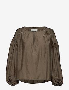 Herdis - long sleeved blouses - silver sage