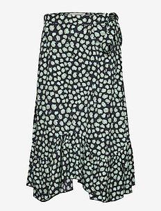 Asbjorg - midi skirts - aqua haze leopard