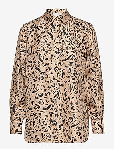 Mariell - long sleeved blouses - cuban sand leopard