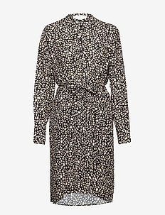 Nanna - shirt dresses - black mini leopard