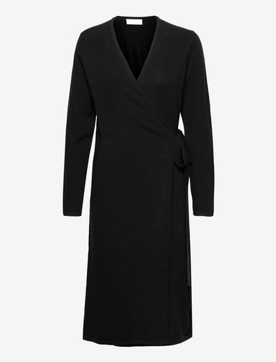 Creepers Wrap Knit Dress - omlottklänningar - anthraciteblack