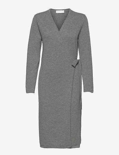 Creepers Wrap Knit Dress - omlottklänningar - greymelange