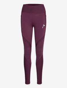 Rib Panel Tights - running & training tights - purple