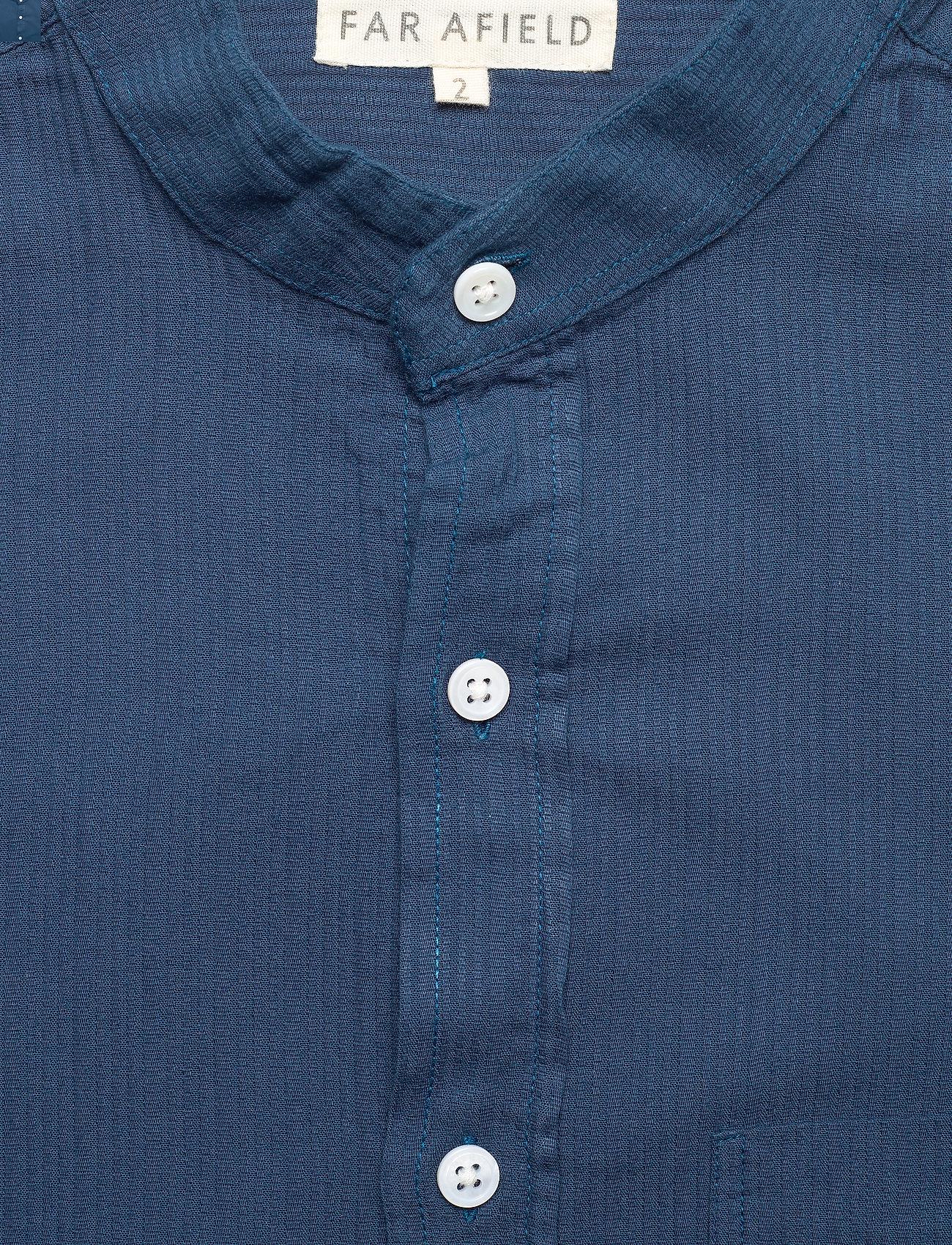 Far Afield - Twombly L/S Shirt - Textured Stripe - linnen overhemden - ensign blue - 2