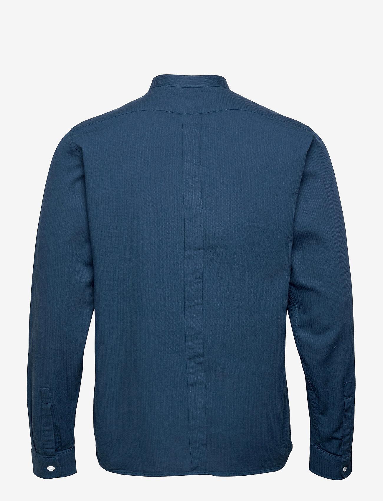Far Afield - Twombly L/S Shirt - Textured Stripe - linnen overhemden - ensign blue - 1