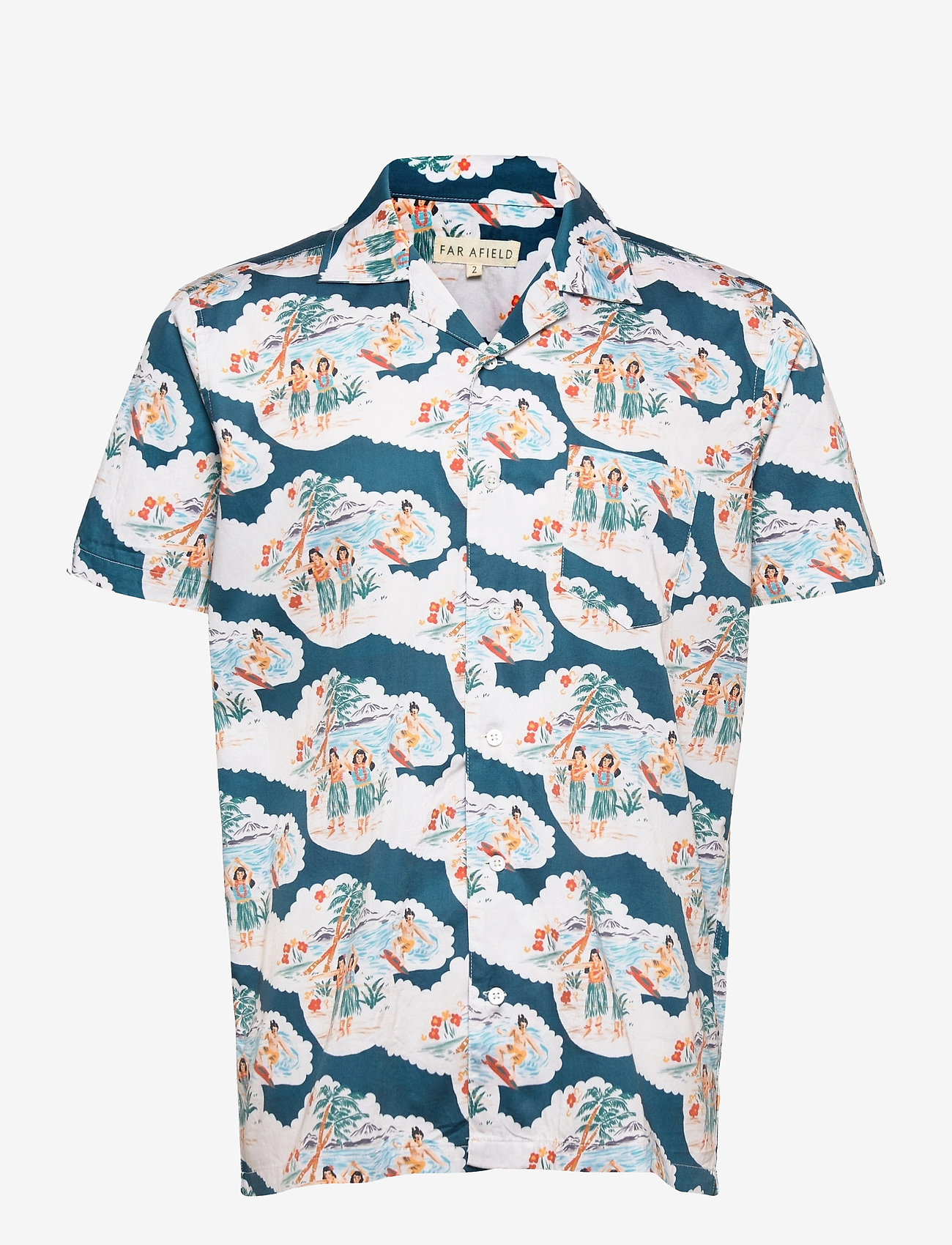 Far Afield - Stachio S/S Shirt (Waikiki) - geruite overhemden - blue / white - 0