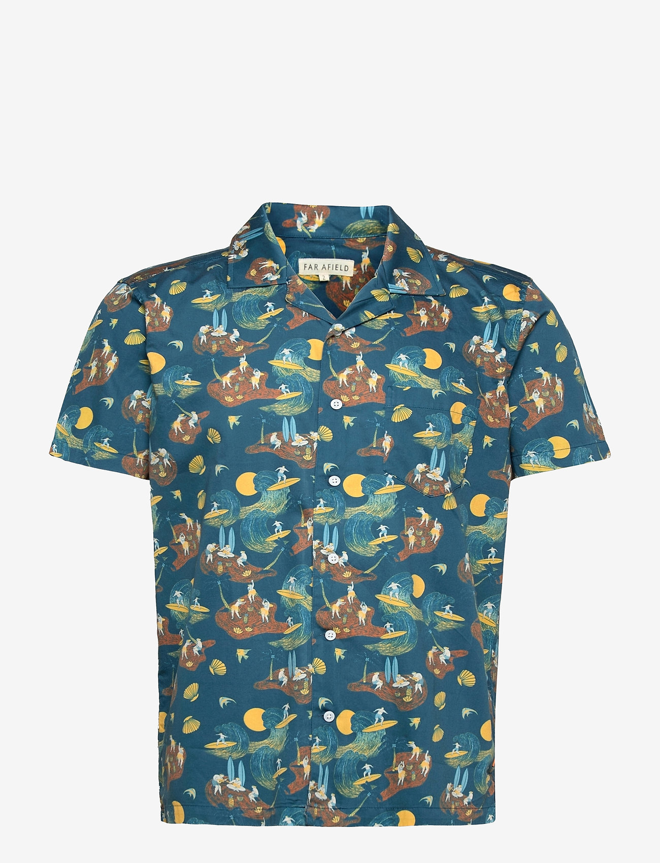 Far Afield - Stachio S/S Shirt (Surf Story) - geruite overhemden - blue - 0