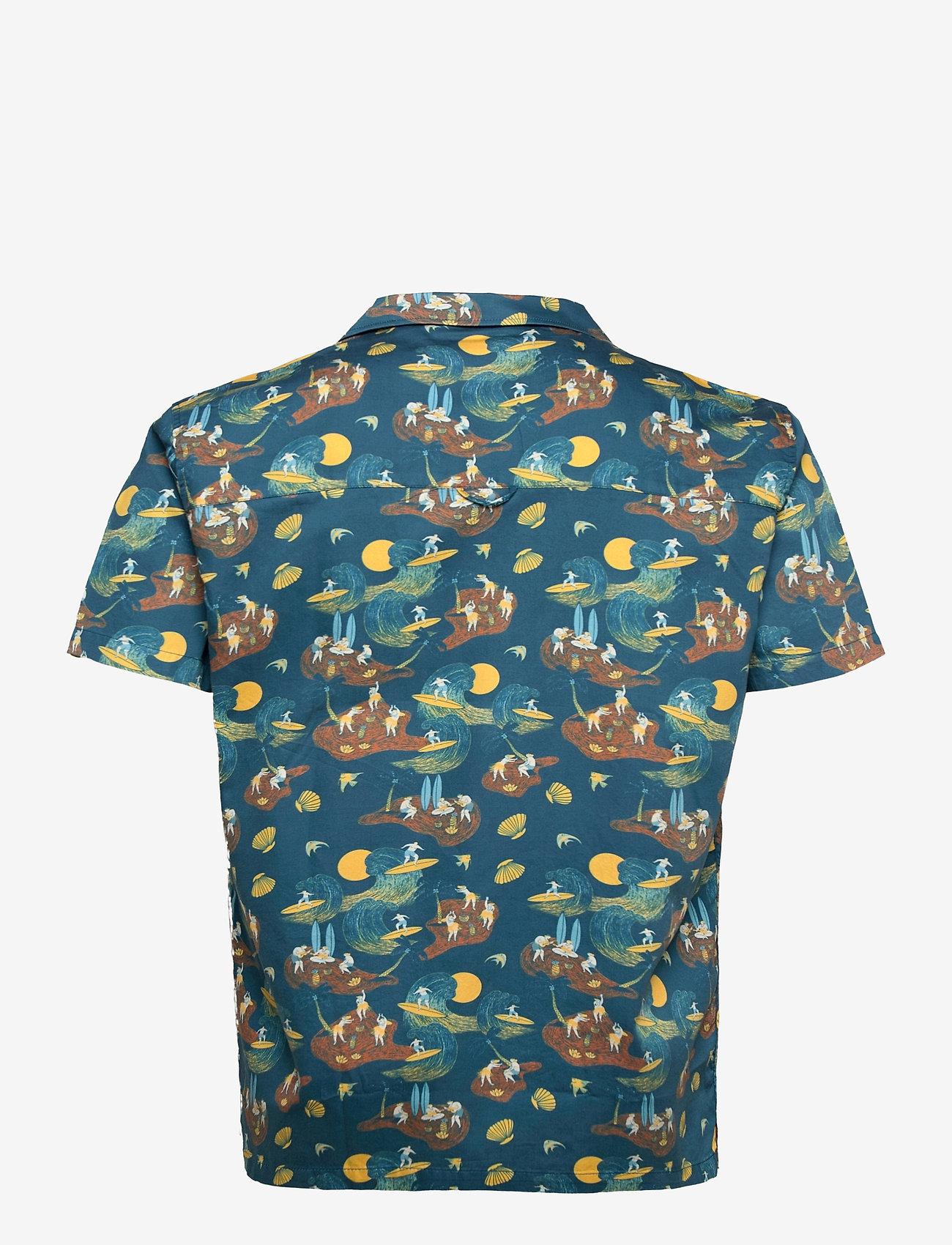 Far Afield - Stachio S/S Shirt (Surf Story) - geruite overhemden - blue - 1