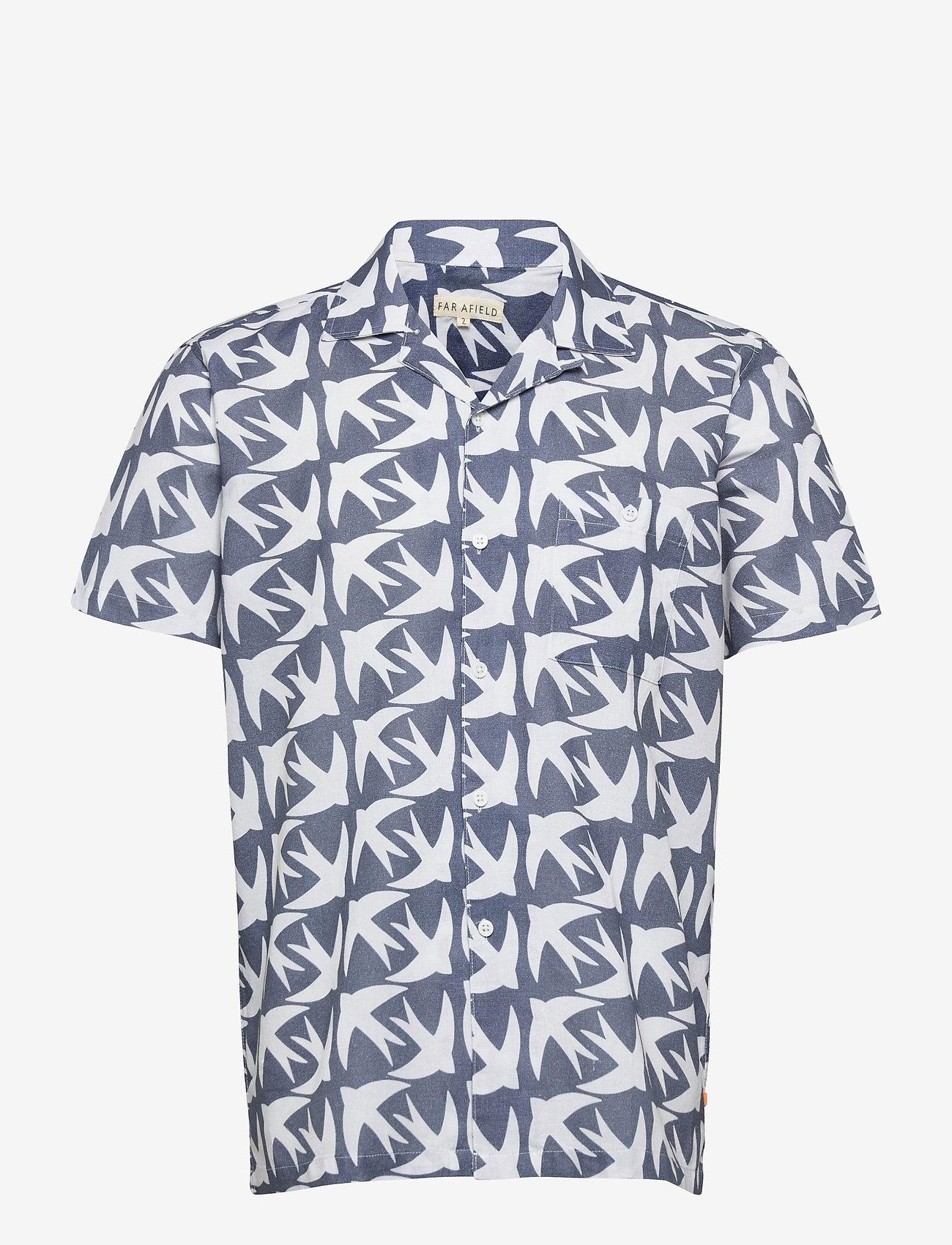 Far Afield - Selleck S/S Shirt (Swallow) - geruite overhemden - blue - 0