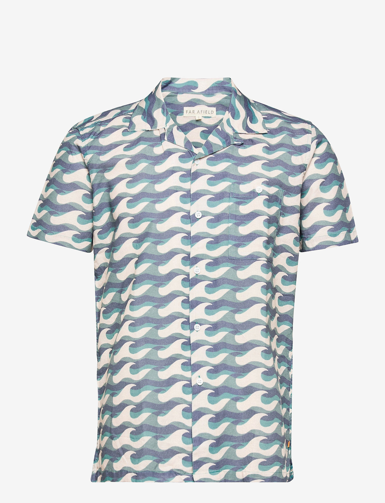 Far Afield - Selleck S/S Shirt (Wavista) - geruite overhemden - blue - 0