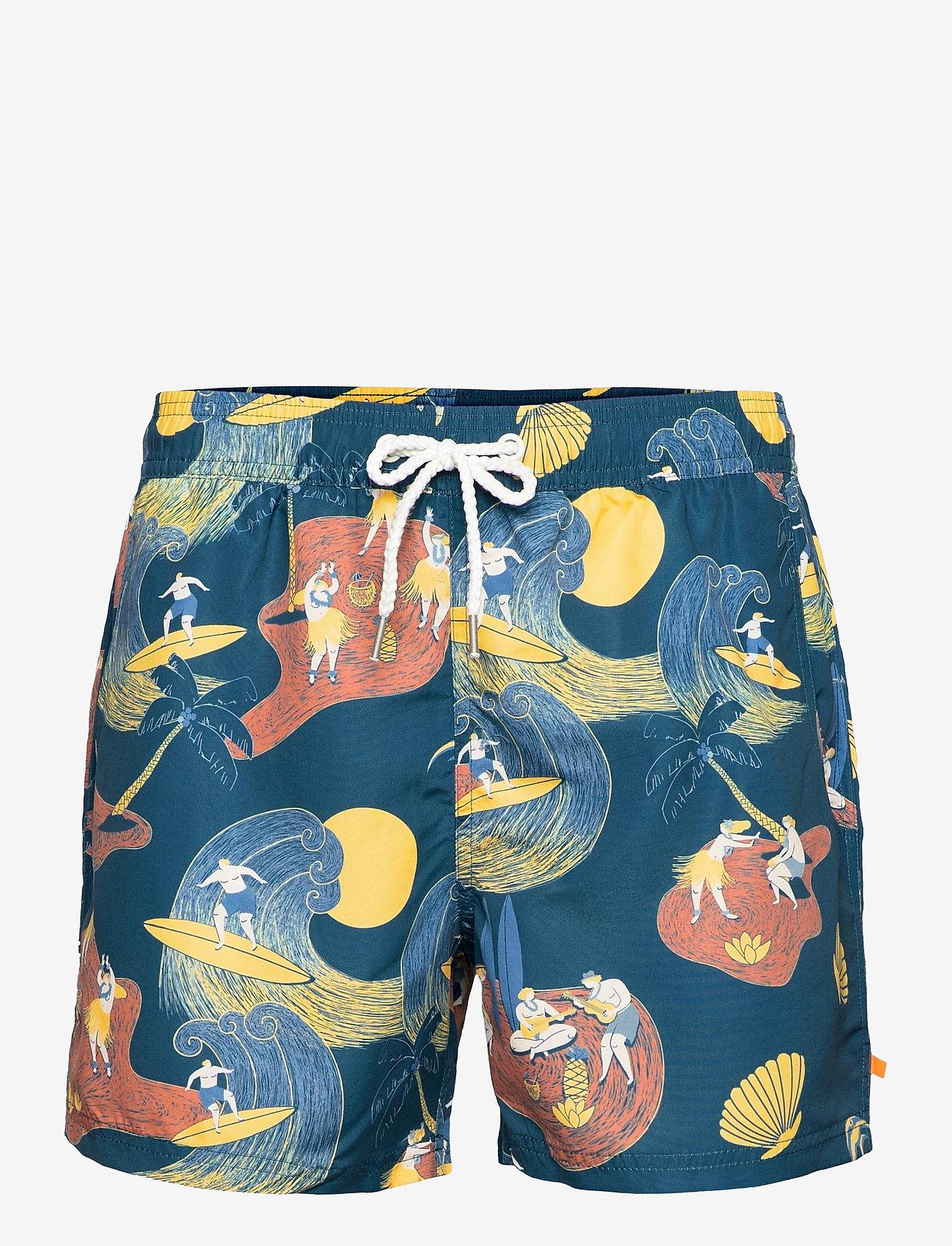 Far Afield - Printed Swimshorts (Surf Story) - shorts - blue - 0