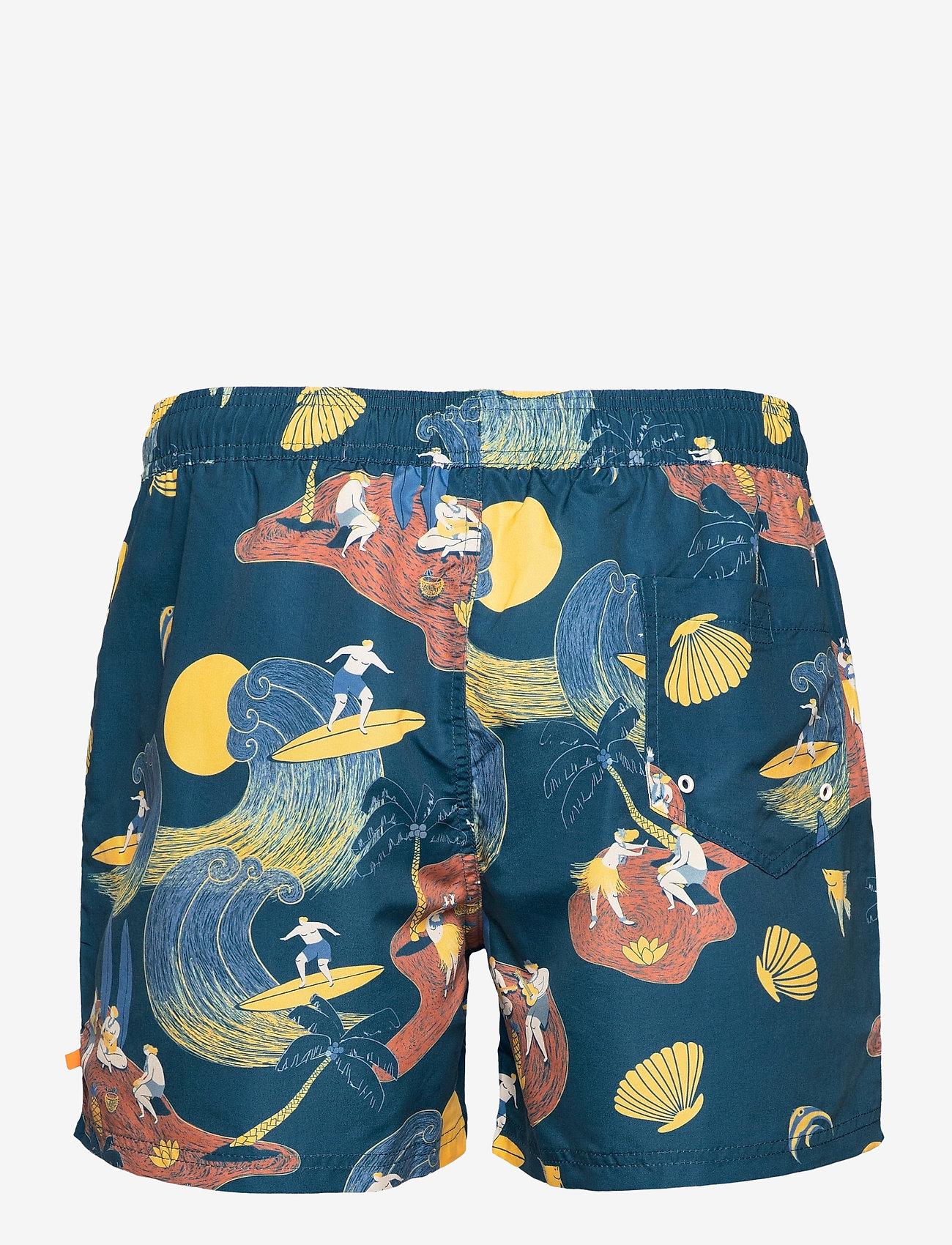 Far Afield - Printed Swimshorts (Surf Story) - shorts - blue - 1
