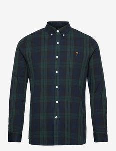 TARTAN BREWER LONG SLEEVED SLIM FIT COTTON OXFORD SHIRT - checkered shirts - gillespie green
