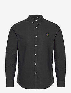 BREWER SLIM FIT COTTON OXFORD SHIRT - basic skjorter - black