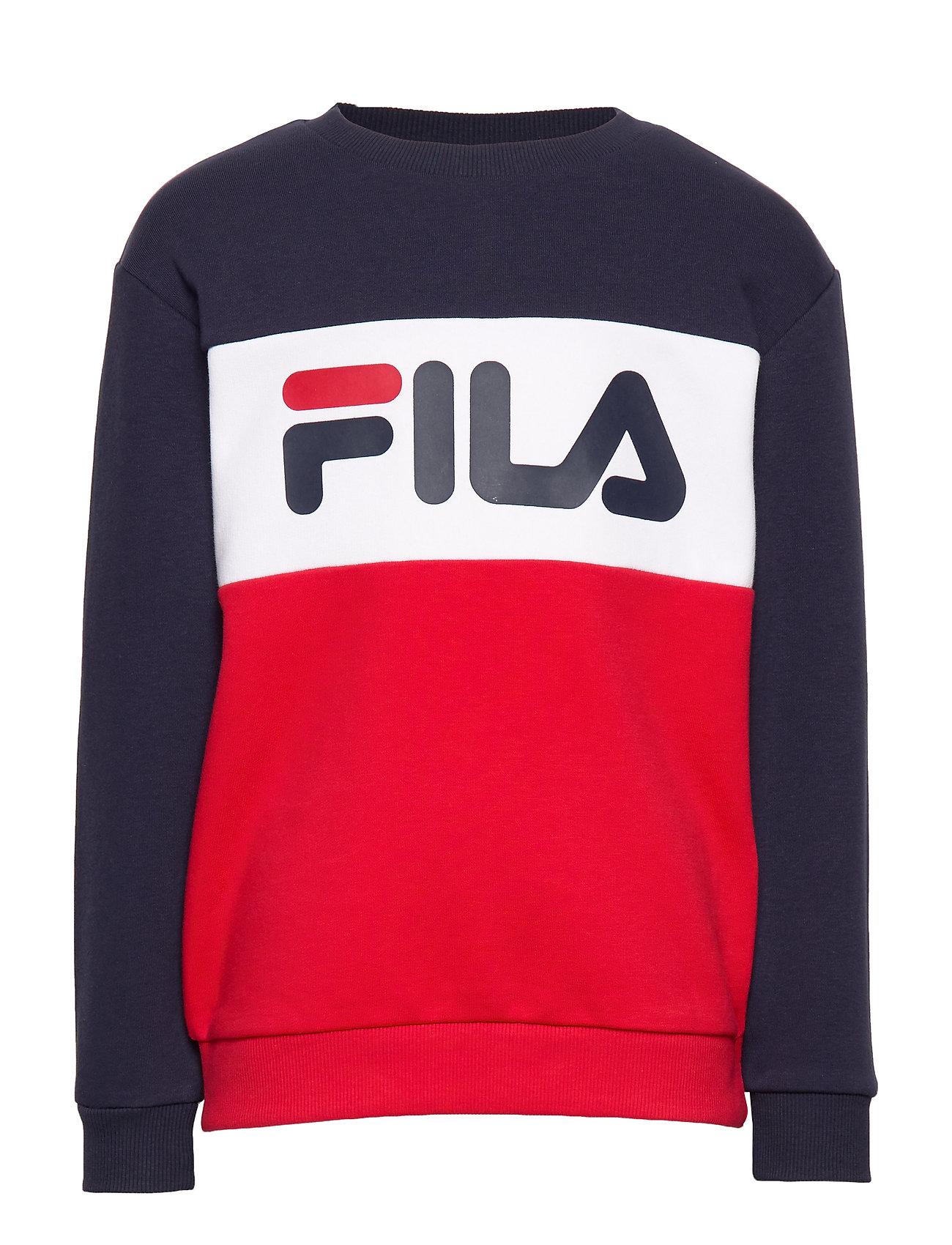 FILA KIDS NIGHT blocked crew shirt - LACK IRIS-TRUE RED-BRIGHT WHITE