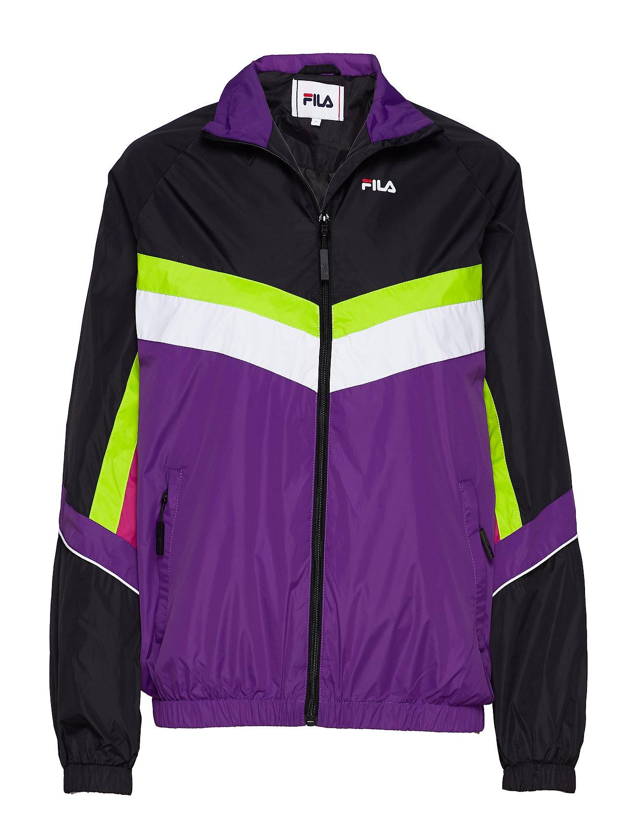 FILA WOMEN RANSOM wind jacket - A241 - BLACK-TILLANDSIA PURPLE-BRIGHT WHITE-ACID LIME