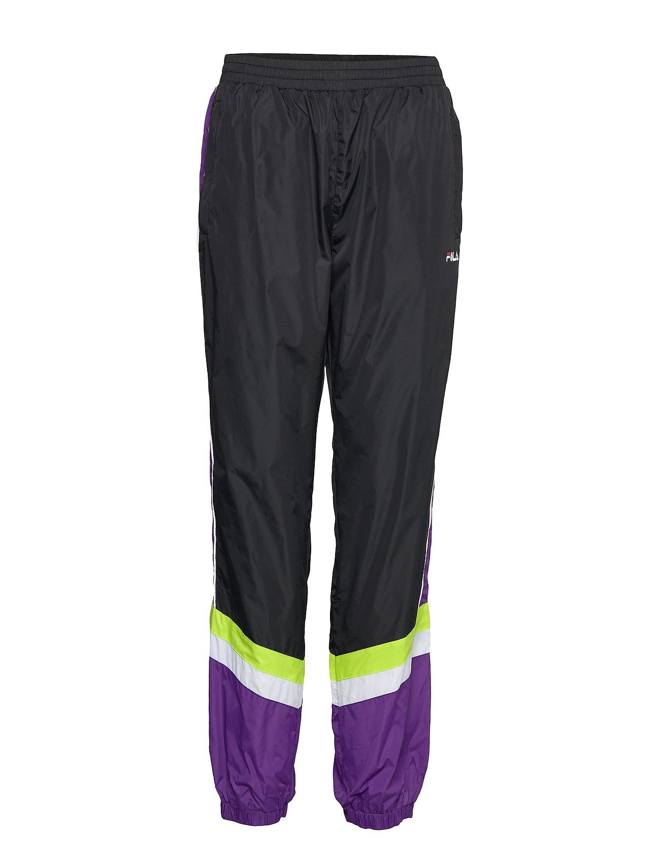 FILA WOMEN RANSIM wind pants - A241 - BLACK-TILLANDSIA PURPLE-BRIGHT WHITE-ACID LIME