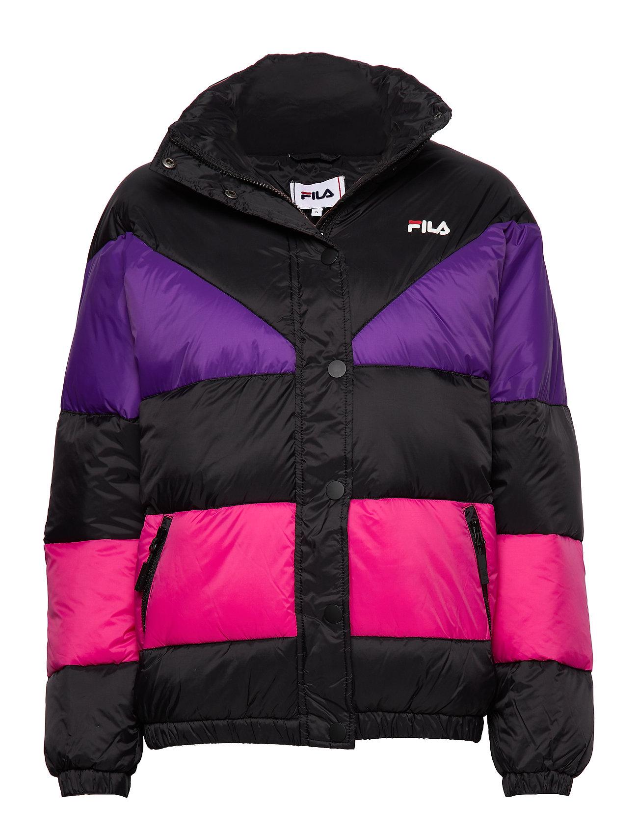FILA WOMEN REILLY puff jacket - A242 - BLACK-TILLANDSIA PURPLE-PINK YARROW