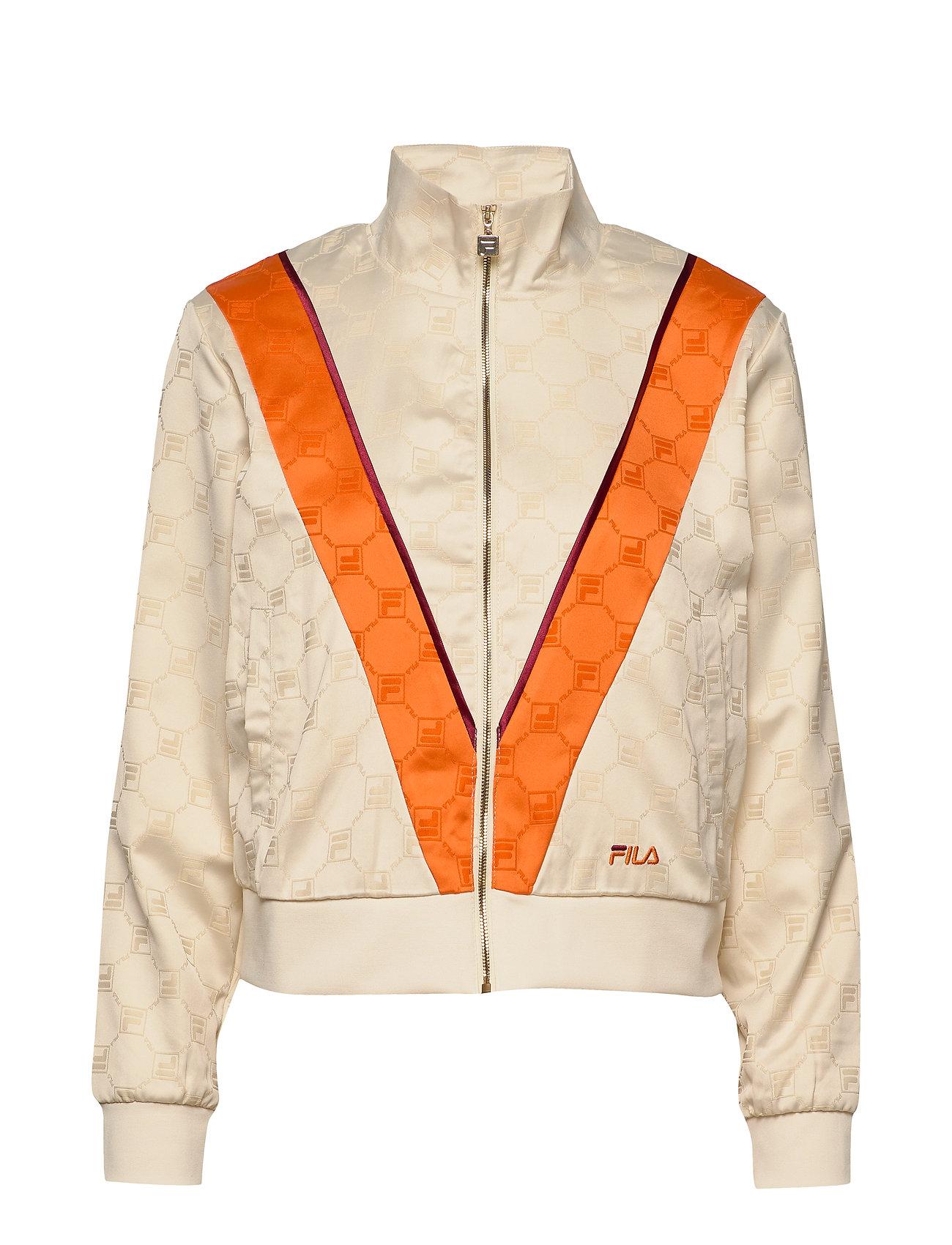 Image of Women Halle Satin Track Jacket Sweatshirt Trøje Orange FILA (3362841465)
