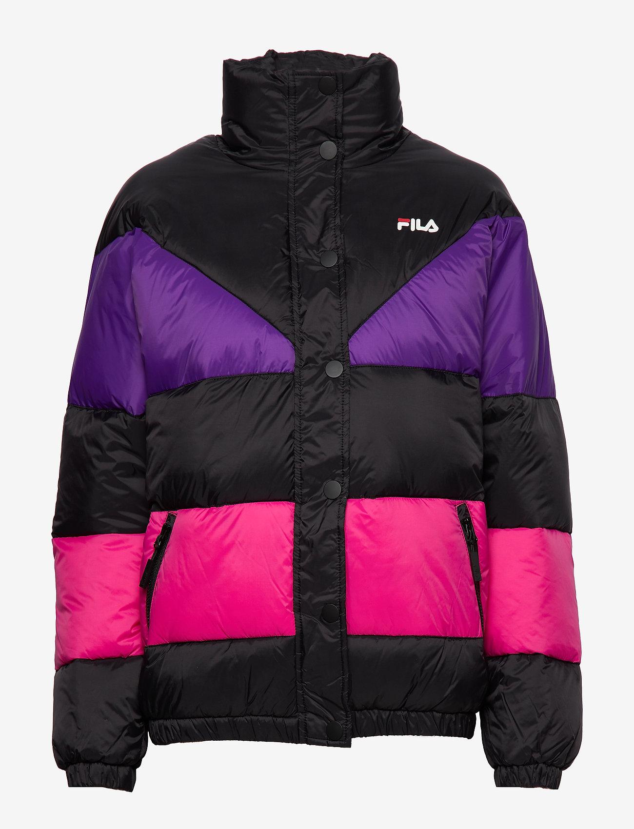 Fila Women Reilly Puff Jacket - Jackor & Kappor A242 Black-tillandsia Purple-pink Yarrow