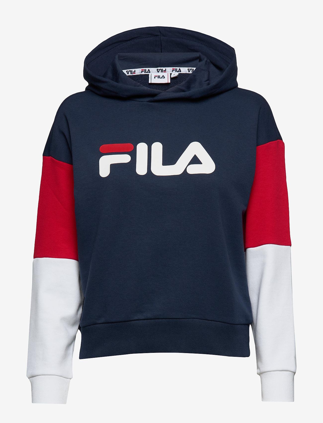 FILA - WOMEN BARRET cropped hoody - hoodies - black iris-bright white-true red