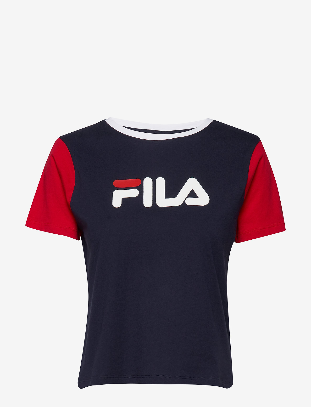 FILA - WOMEN SALOME tee - logo t-shirts - black iris-true red-bright white