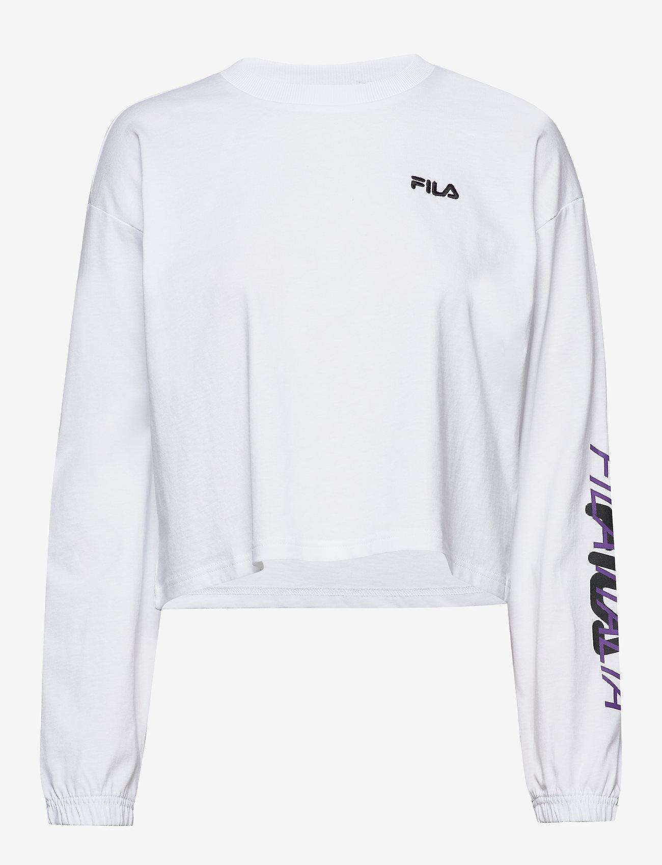 FILA - WOMEN CALANDRA cropped long sleeve shirt - crop tops - bright white