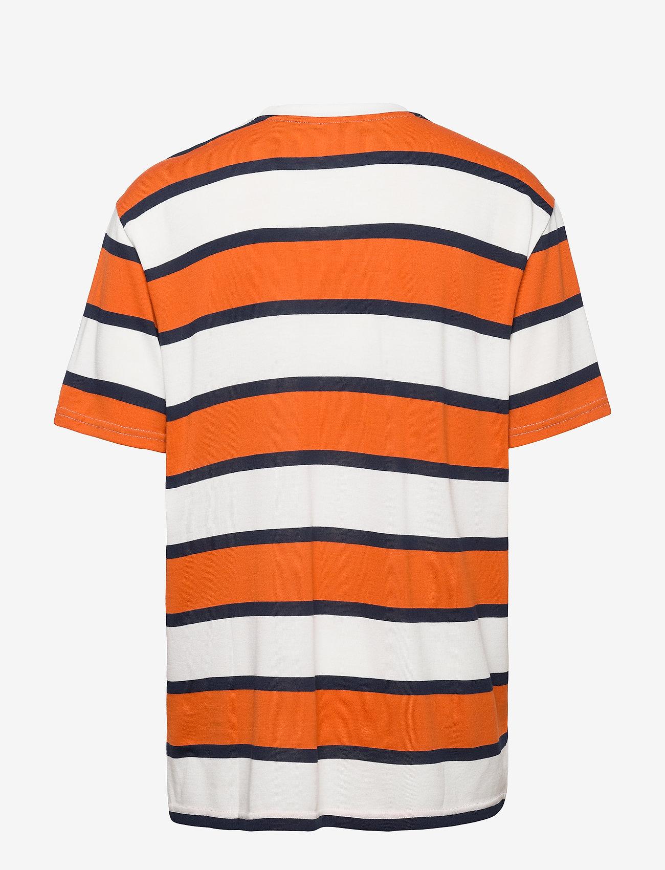 Fila Men Makram Dropped Shoulder Tee - T-shirts Harvest Pumpkin-bright White-black Iris