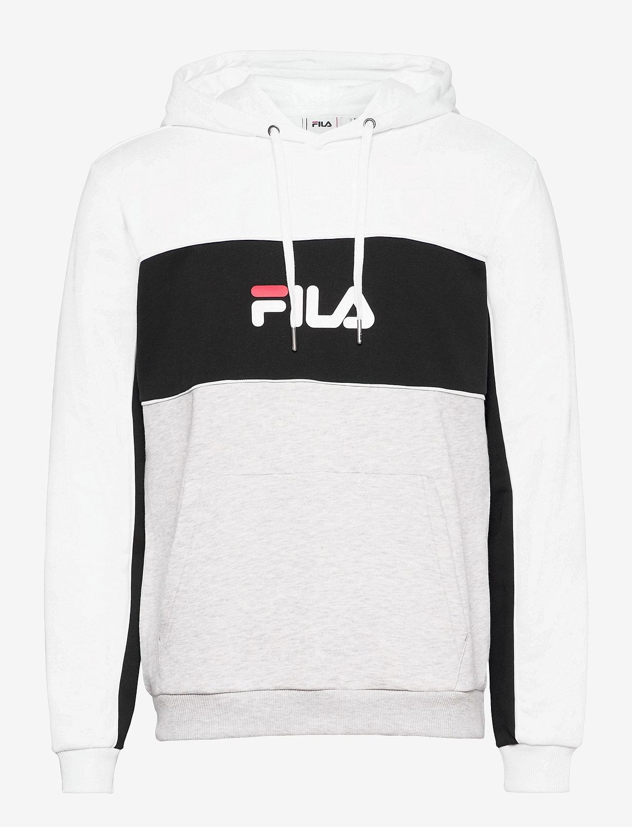 FILA - MEN ANALU blocked hoody - pulls a capuche - light grey melange bros-bright white-black - 0