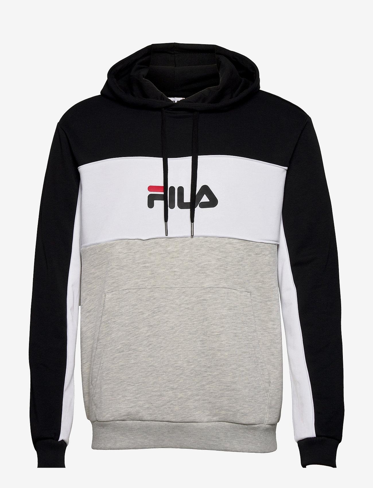 FILA - MEN ANALU blocked hoody - pulls a capuche - light grey melange bros-black-bright white - 0