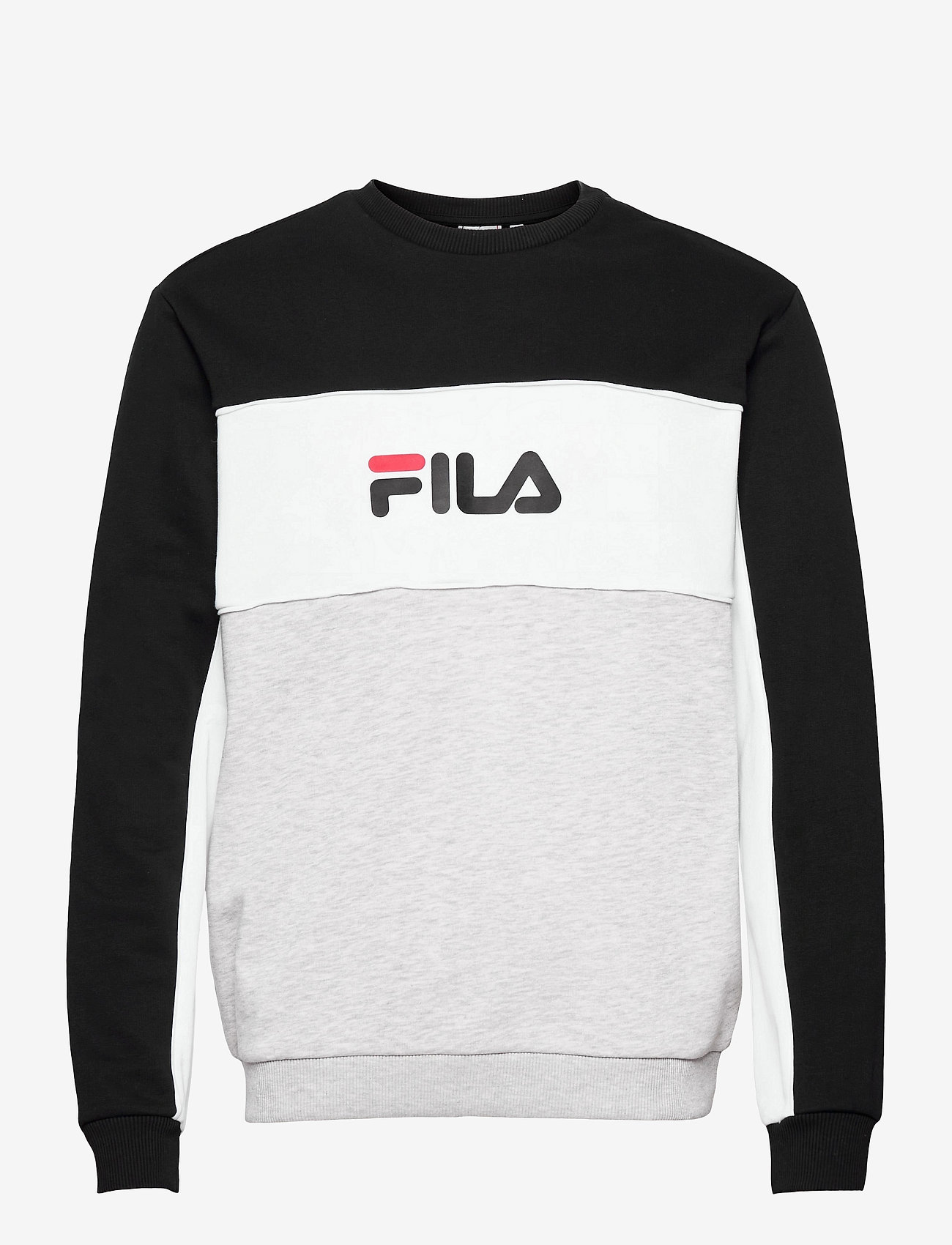 FILA - MEN AQIL blocked crew sweat - sweats - light grey melange bros-black-bright white - 0