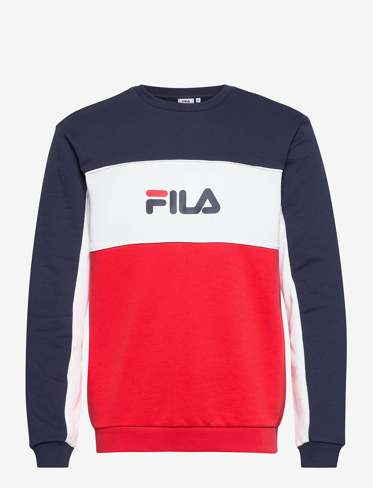 FILA - MEN AQIL blocked crew sweat - sweats - true red-black iris-bright white - 0