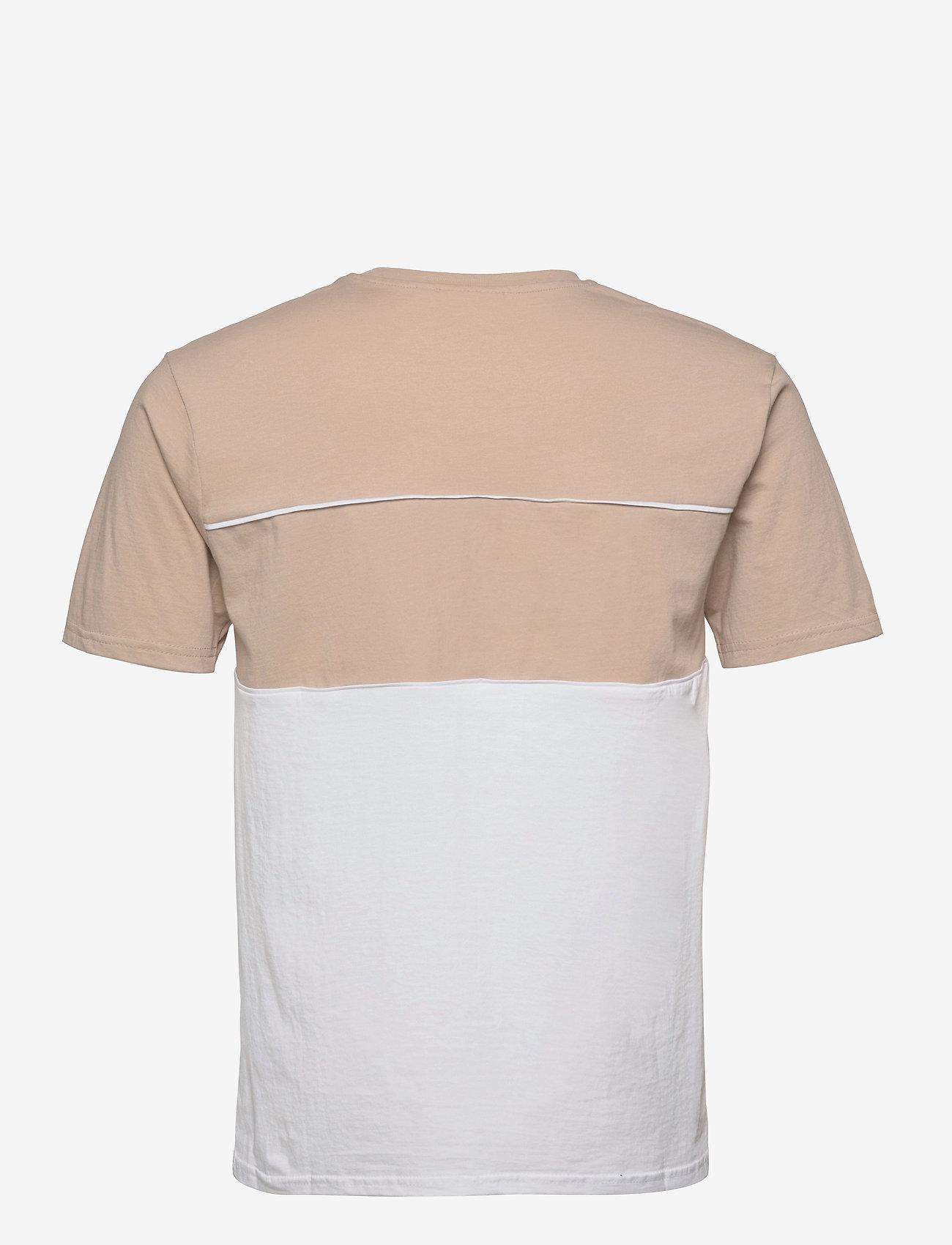 FILA - MEN ANOKI blocked tee - t-shirts - oxford tan-bright white - 1