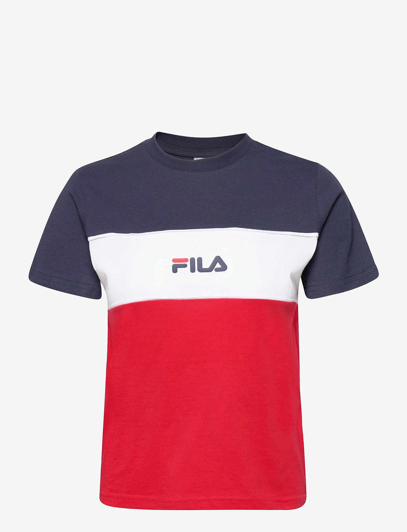 FILA - WOMEN ANOKIA blocked tee - t-shirts - true red-black iris-bright white - 0