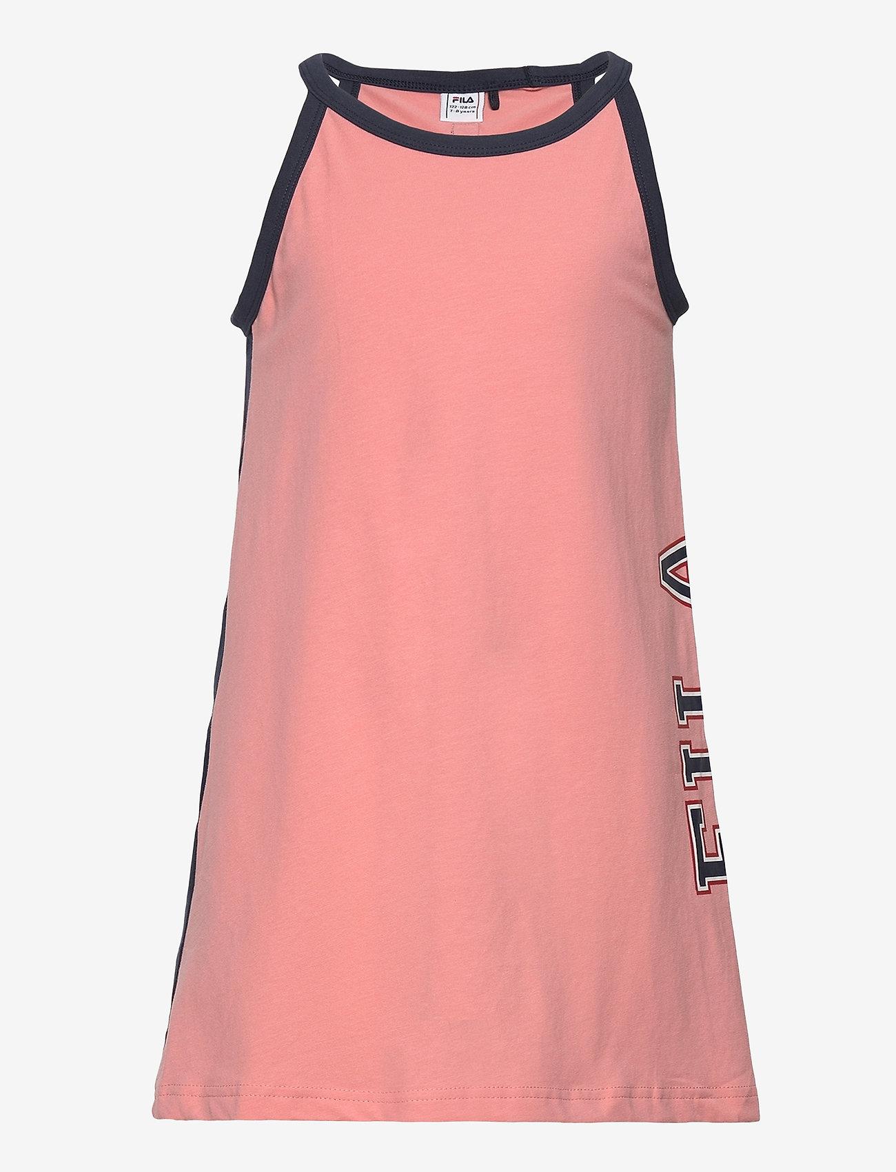 FILA - KIDS GIRLS CARMEN tank dress - kleider - conch shell-black iris - 0