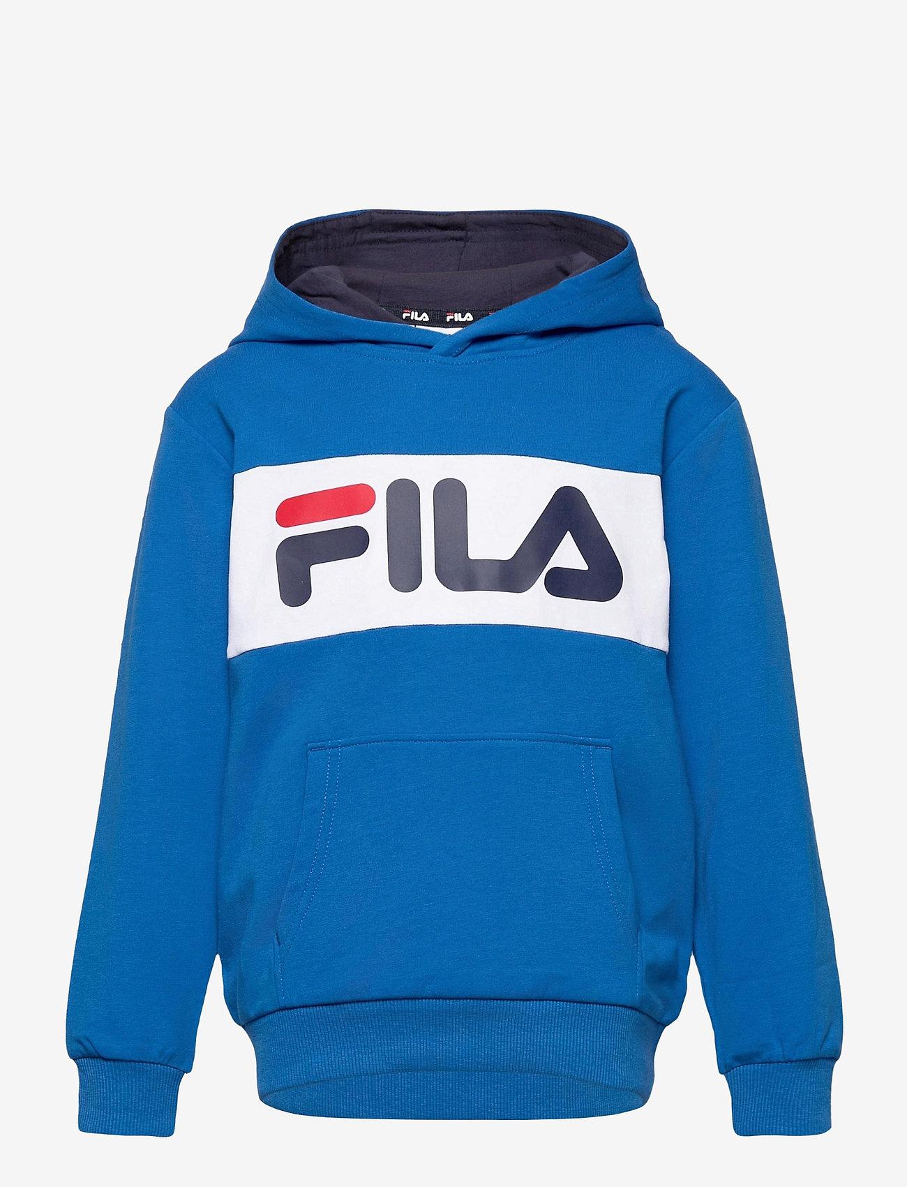 FILA - KIDS UNISEX BRUTUS basic logo hoody - hoodies - skydriver-bright white - 0