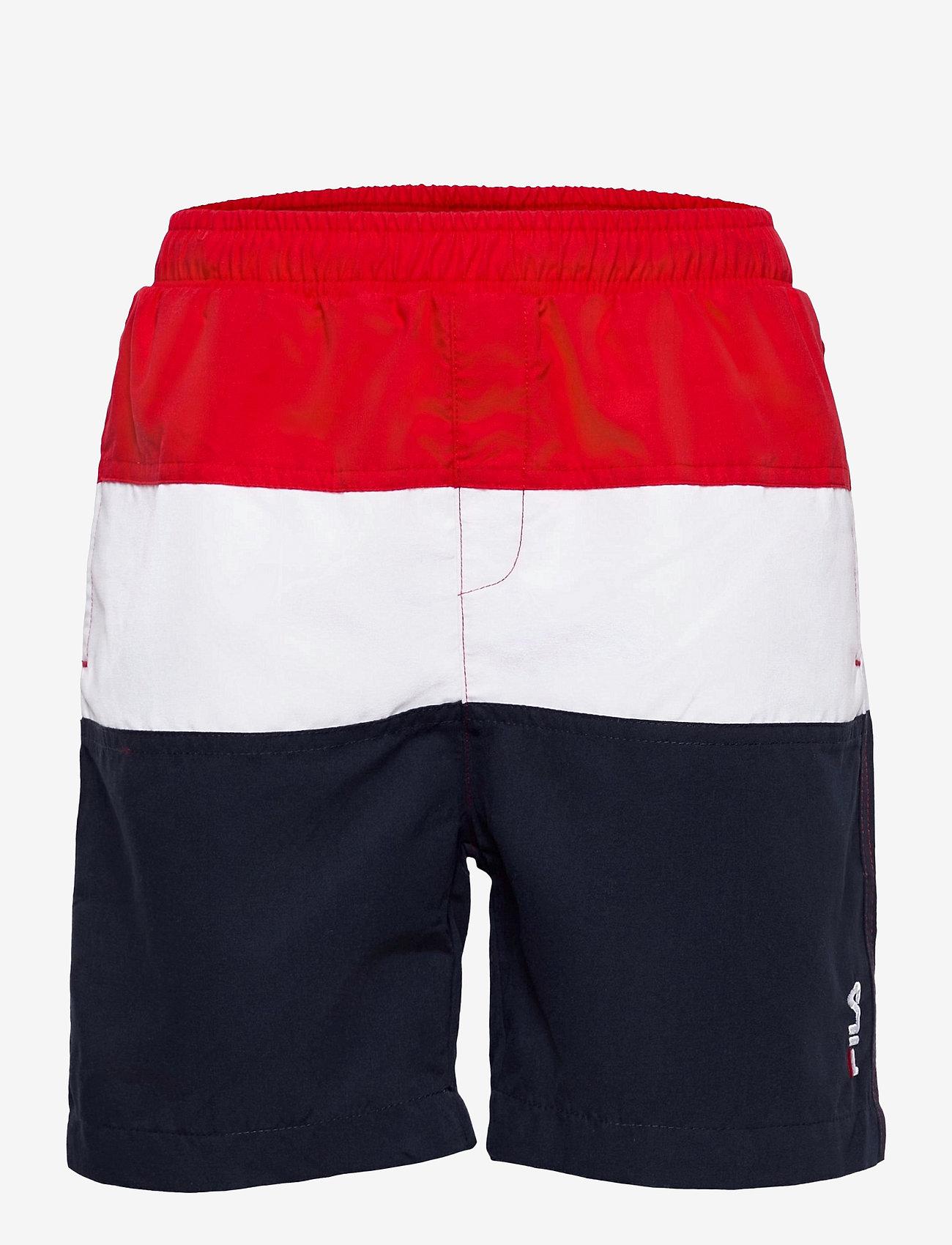 FILA - KIDS BOYS NICOLO swim shorts - bademode - black iris-true red-bright white - 0