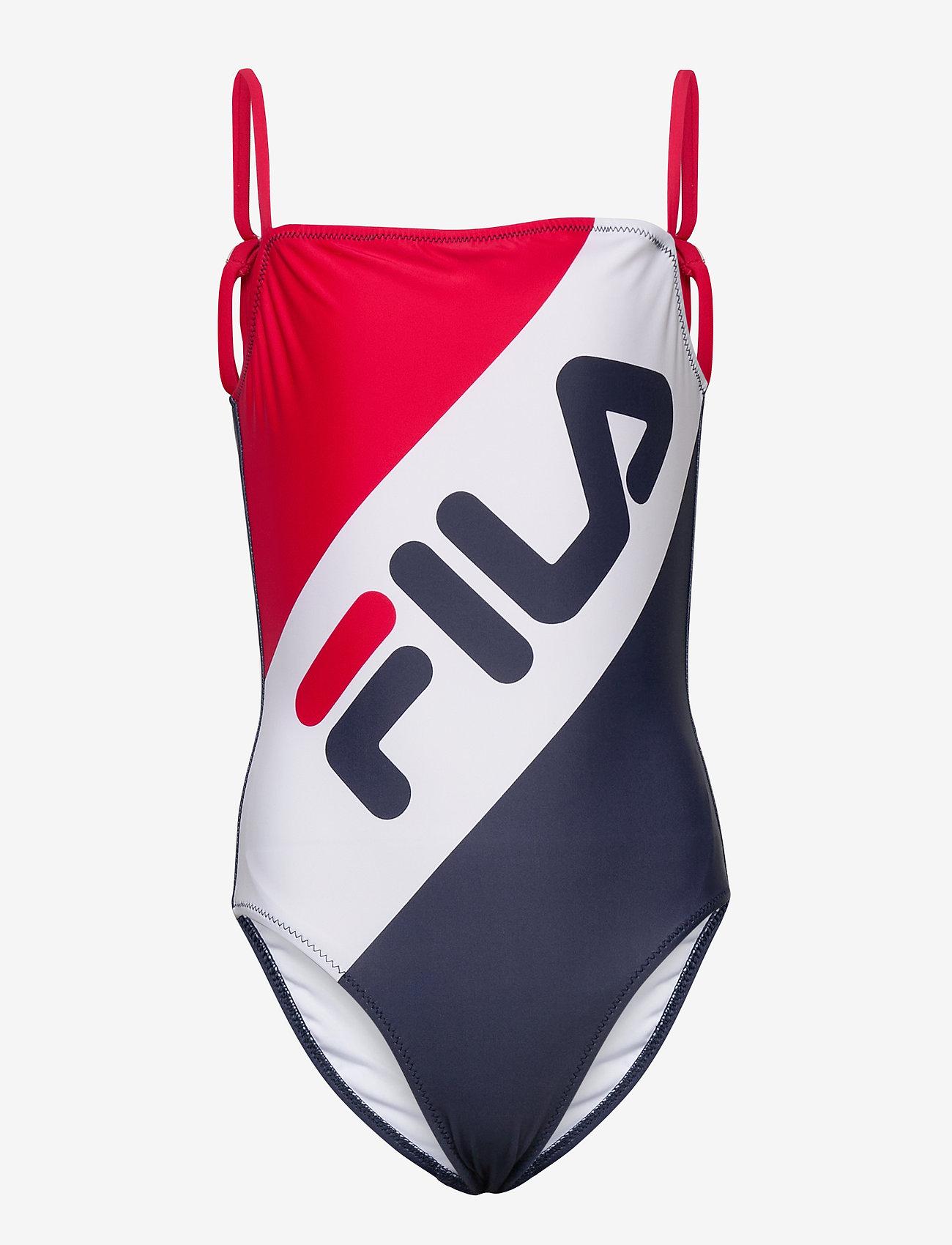 FILA - TEENS GIRLS KATE blocked swim suit - swimsuits - true red-black iris-bright white - 0