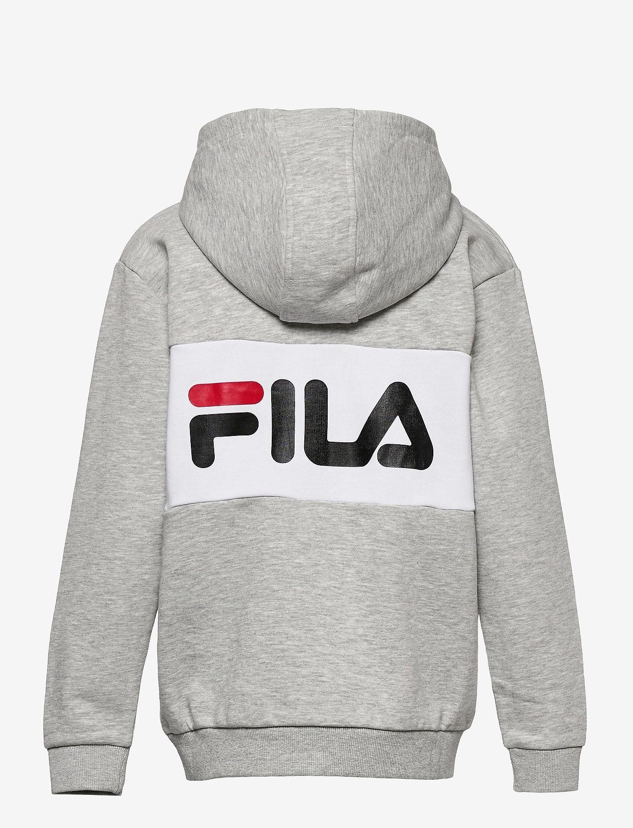 FILA - TEENS UNISEX NIKITA hooded zip jacket - hoodies - light grey mel bros-bright white - 1