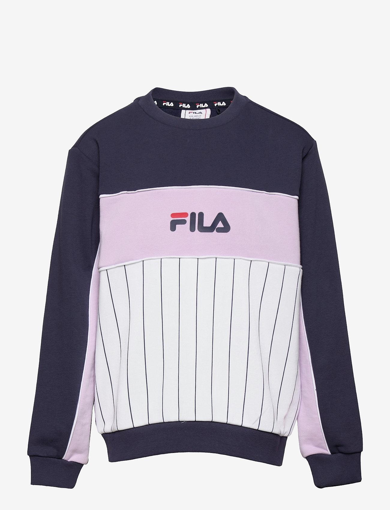 FILA - TEENS GIRLS SYLVIE blocked crew - sweatshirts - bright white-black iris-pastel lilac - 0
