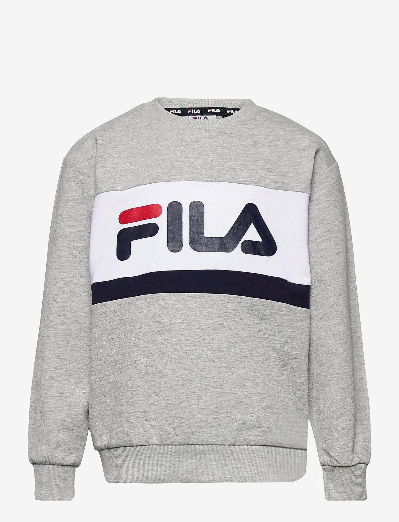 FILA - KIDS UNISEX CARL blocked crew sweat - sweatshirts - light grey melange bros-bright white-black iris - 0