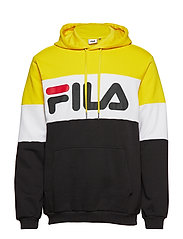 NIGHT blocked hoody - BLACK-EMPIRE YELLOW-BRIGHT WHITE