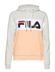 LORI HOODIE SWEAT - LIGHT GREY MEL BROS-SALMON-BRIGHT WHITE