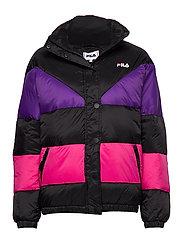 WOMEN REILLY puff jacket - A242 - BLACK-TILLANDSIA PURPLE-PINK YARROW