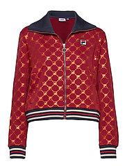 FILA WOMEN LERDIDWEN AOP track jacket - A259 - RHUBARB-MANDARIN ORANGE ALLOVER