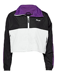 WOMEN CAGE cropped woven jacket - BLACK-BRIGHT WHITE TILLANDSIA PURPLE