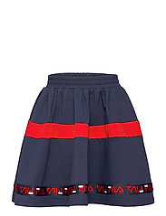 KIDS GIRLS CURLY taped sweat skirt - BLACK IRIS-TRUE RED