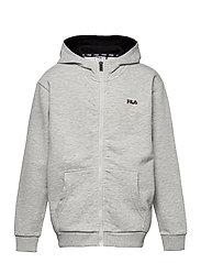 TEENS UNISEX NIKITA hooded zip jacket - LIGHT GREY MEL BROS-BRIGHT WHITE