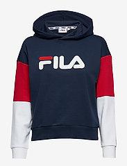 FILA - WOMEN BARRET cropped hoody - hoodies - black iris-bright white-true red - 0
